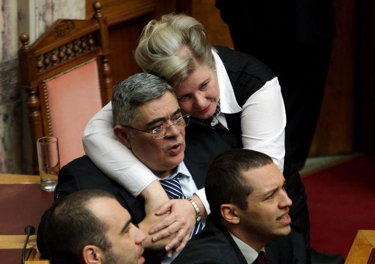 Stavros Dimas in het Griekse parlement.