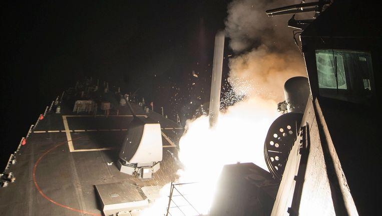 Het Amerikaanse leger verspreidde enkele foto's van de lancering van de Tomahawks, afgelopen nacht.