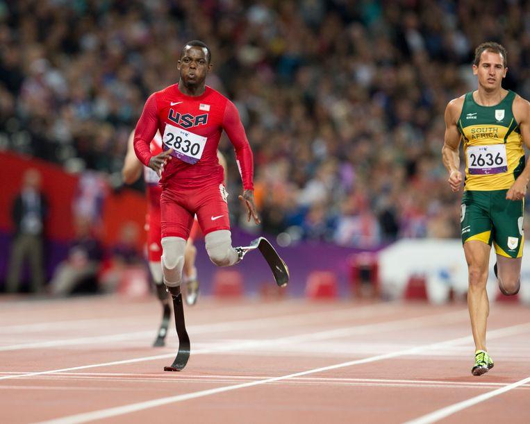 Blake Leeper op de Paralympics in Londen, in 2012. Beeld Getty Images