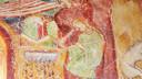 Maaltijd van deegwaren, detail van fresco in het 12de-eeuwse kasteel in Appiano (Zuid-Tirol).
