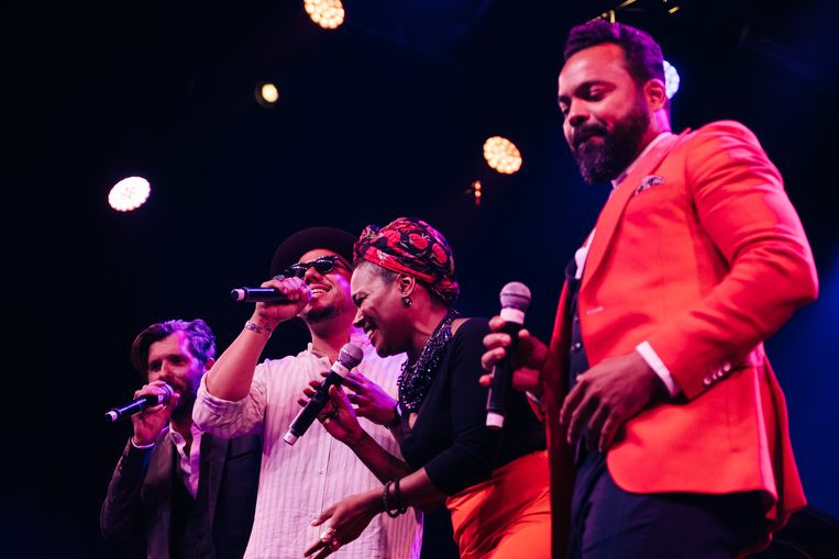 Hugh Coltman, Ben l'Oncle Soul, China Moses en Myles Sanko op Jazz Middelheim tijdens 'Jazz Loves Disney'. Beeld Wouter Van Vooren