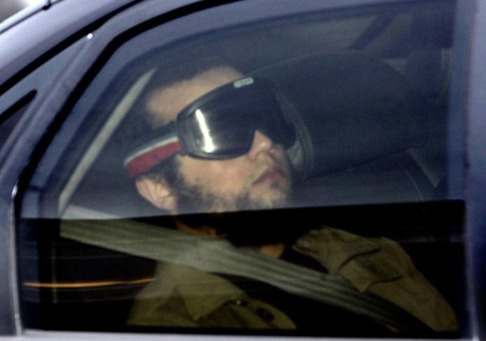 Mohammed B. tijdens een transport naar de rechtbank voor het proces tegen de Hofstadgroep.
