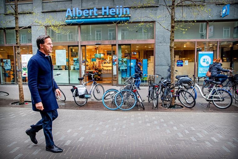 Premier Rutte in Den Haag, 2 april.  Beeld Getty Images