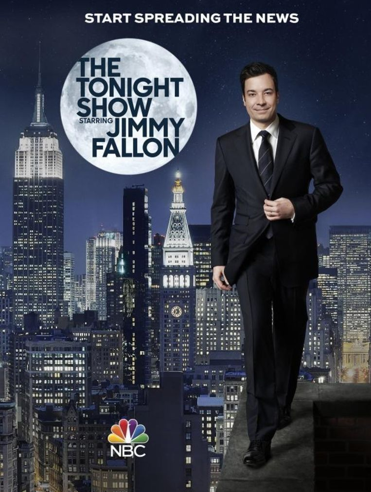 De poster die NBC gebruikt om de introductie van de vernieuwde Tonight Show te promoten. Beeld NBC