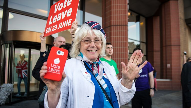 Een aanhanger van het Brexit-kamp in de buurt van de Westminster-toren in Londen. Beeld getty