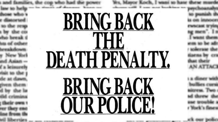 """De advertentie van Donald Trump: """"Voer de doodstraf opnieuw in."""""""
