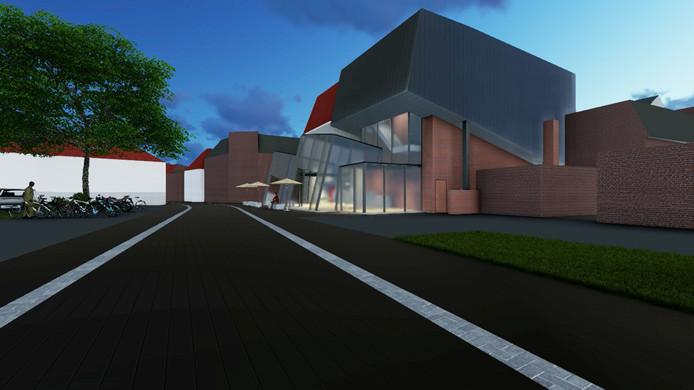 Impressie van de nieuwbouw van de bios (gezien vanaf de Heerenstraat)