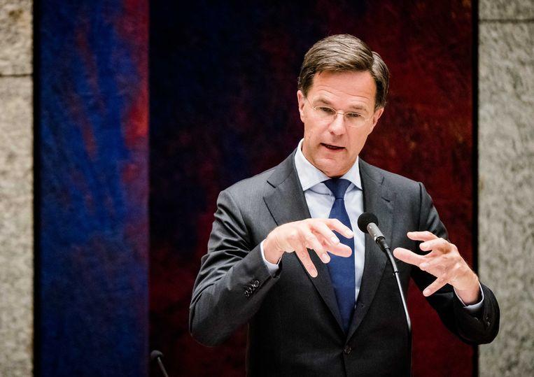 Premier Mark Rutte tijdens het debat over de ontwikkelingen rondom het coronavirus Beeld ANP