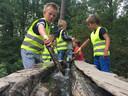 De waterbaan in het Oerbos in Oisterwijk, uitstapje tijdens Kindervakantieweek Berkel-Enschot.