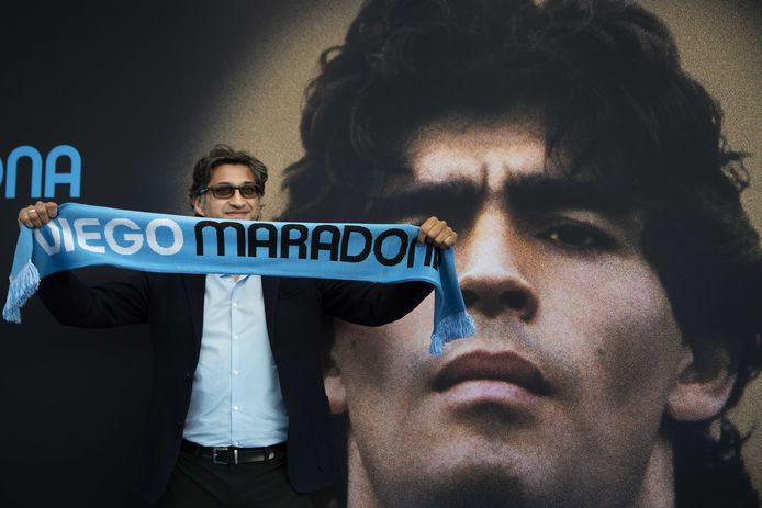 Regisseur Asif Kapadia voorafgaand aan de première van de film Diego Maradona in Amsterdam.
