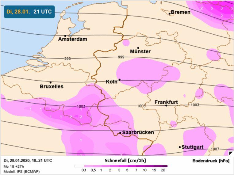 Vandaag zijn de sneeuwkansen het hoogst voor het ZO van ons land.