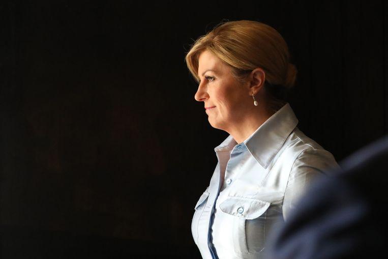 De Kroatische president Kolinda Grabar-Kitarovic: 'Onze politie is niet gewelddadig, dat garandeer ik volkomen'. Beeld EPA