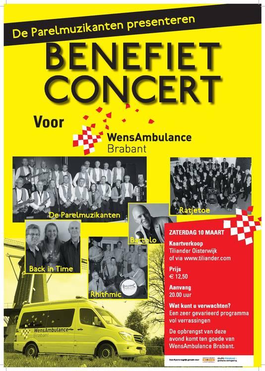 Benefiet voor Wensambulance Brabant op zaterdag 10 maart
