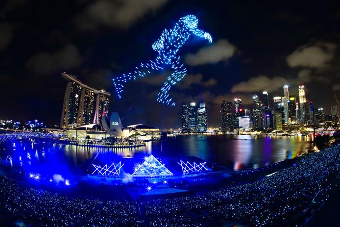 De droneshow in Singapore van afgelopen jaarwisseling was een gigantisch spektakel.