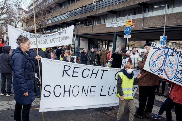 De demonstratie op de Kattenburgerstraat. Beeld Jakob Van Vliet