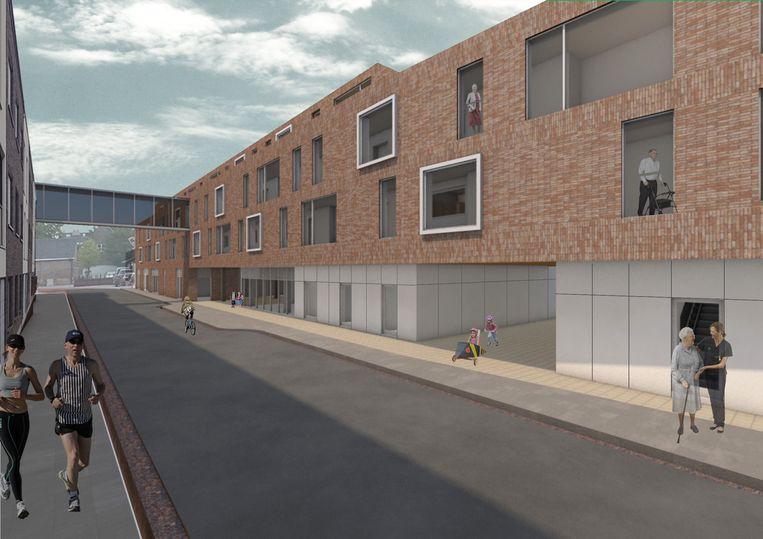 Een simulatie van de Hazaarddam met de passerelle boven de straat die het woonzorgcentrum verbindt met de assistentieflats.