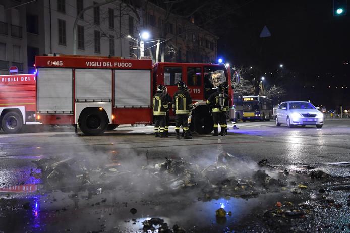 Foto ter illustratie. Brandweermannen in Italië.