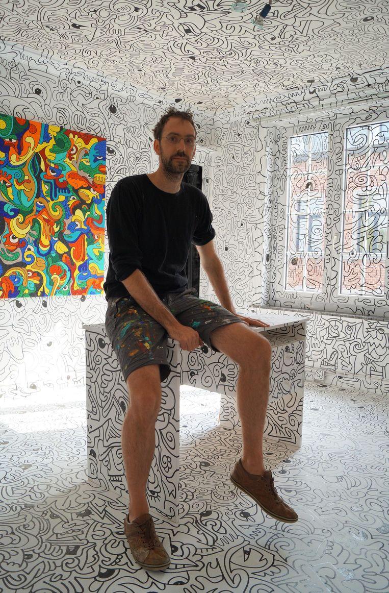 Kunstenaar David Maertens is zijn ouderlijk huis aan het omvormen tot een waar kunstwerk. Zijn vroegere slaapkamer ziet eruit als een gigantisch schilderij van Keith Haring.