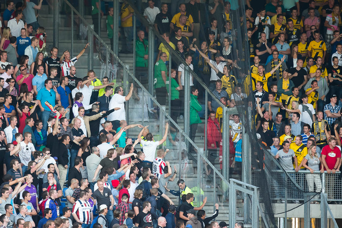 TILBURG - Willem II - NAC, voetbal Eredivisie, seizoen 2012-2013, 10-08-2012, Koning Willem II Stadion, de 2 rivaliserende supporters groepen, Willem II supporters (L), de NAC supporters (R).