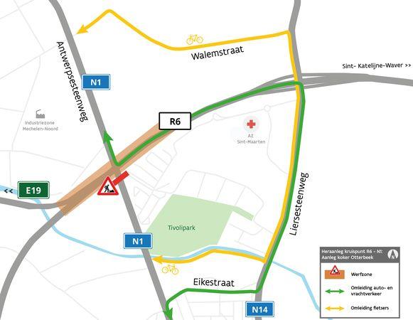 Automobilisten en fietsers moeten omrijden via de Liersesteenweg.