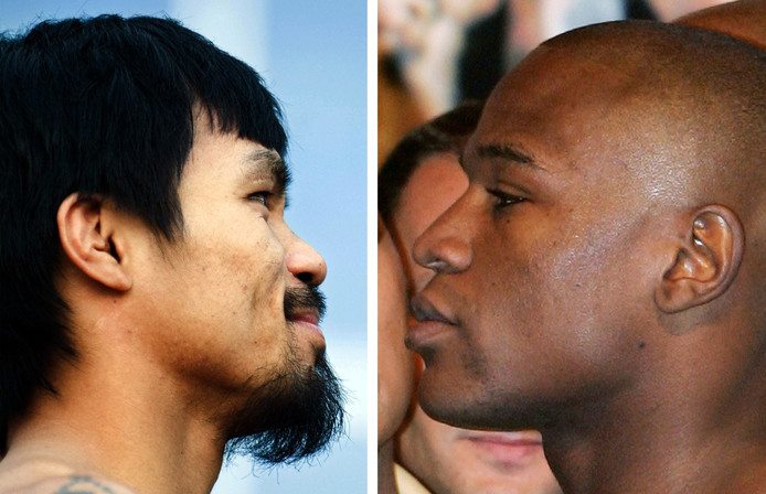 Manny Pacquiao (links) en Floyd Mayweather.