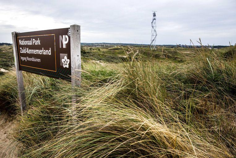 Een bord van Nationaal Park Zuid-Kennemerland bij Circuit Zandvoort.  Beeld ANP