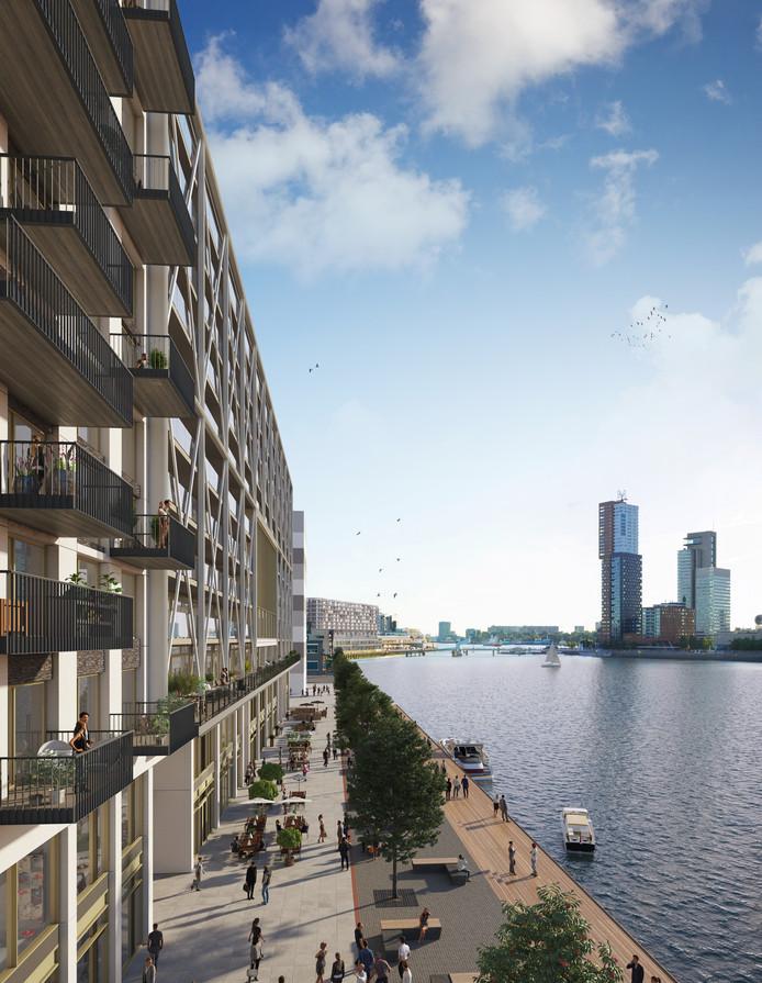 De woningen bieden uitzicht op de Wilhelminapier en de Nieuwe Maas.