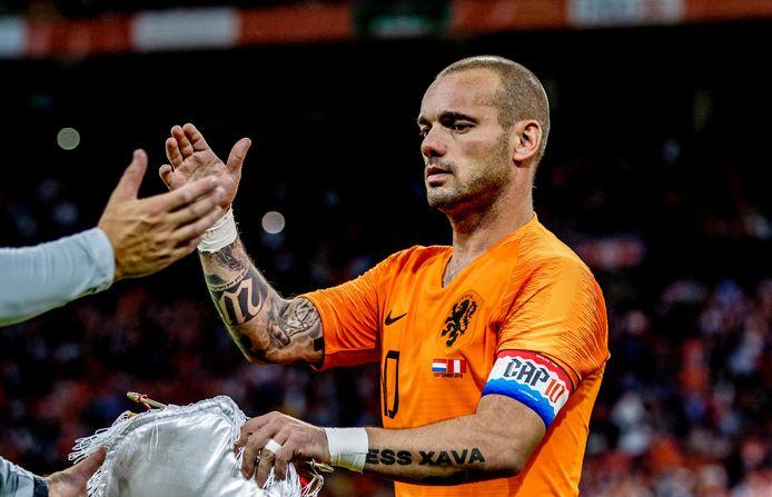 Sneijder tijdens zijn afscheidswedstrijd bij Oranje.