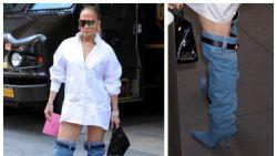 """Internet lacht zich een breuk met 'denim afzaklaars' van J.Lo: """"Je broek vergeten op te trekken?"""""""
