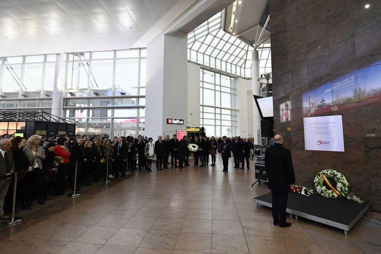 De korte plechtigheid op Brussels Airport deze ochtend.