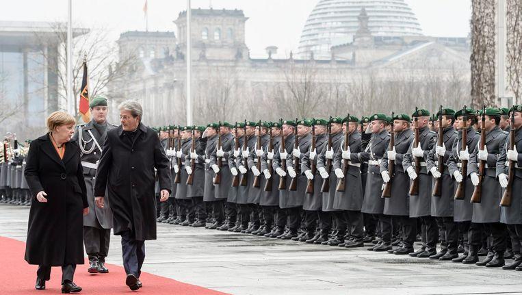 Merkel ontvangt de Italiaanse premier Paolo Gentiloni, Berlijn, 18 januari 2017. Beeld epa