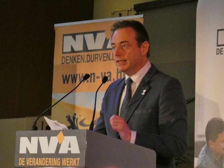 Antwerps burgemeester en N-VA-voorzitter Bart De Wever op de nieuwjaarsreceptie van N-VA Stad Antwerpen in zaal Horta.