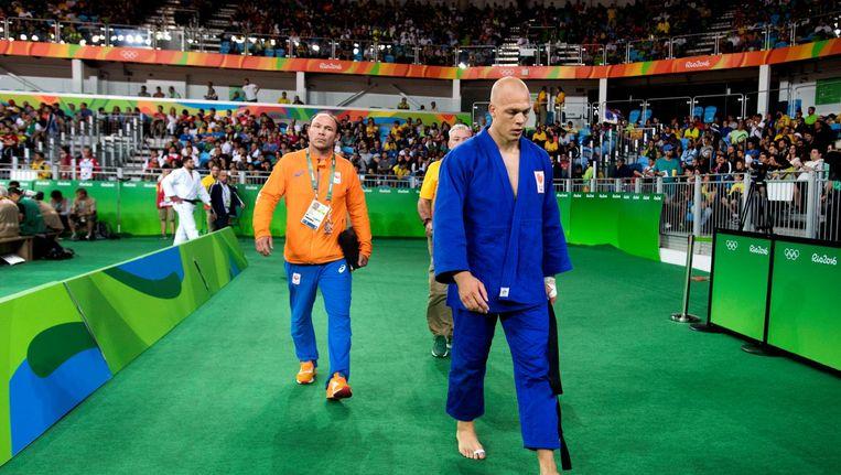 Henk Grol na zijn uitschakeling op het Olympisch judotoernooi in Rio. Beeld anp