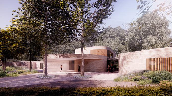 Ronde vormen en natuurlijke kleuren typeren het toekomstige crematorium aan de Docfalaan in Oss.