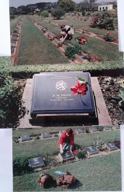 Het graf van Bert Unger op begraafplaats Kanchanaburi in Thailand.