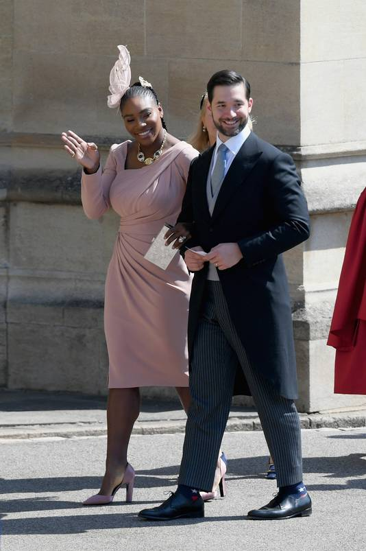 Serena Williams et son mari Alexis Ohanian, lors du mariage de Meghan et Harry, en mai 2018