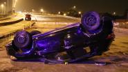 Auto gaat over de kop aan wegenwerken in Aalst: bestuurder gewond afgevoerd
