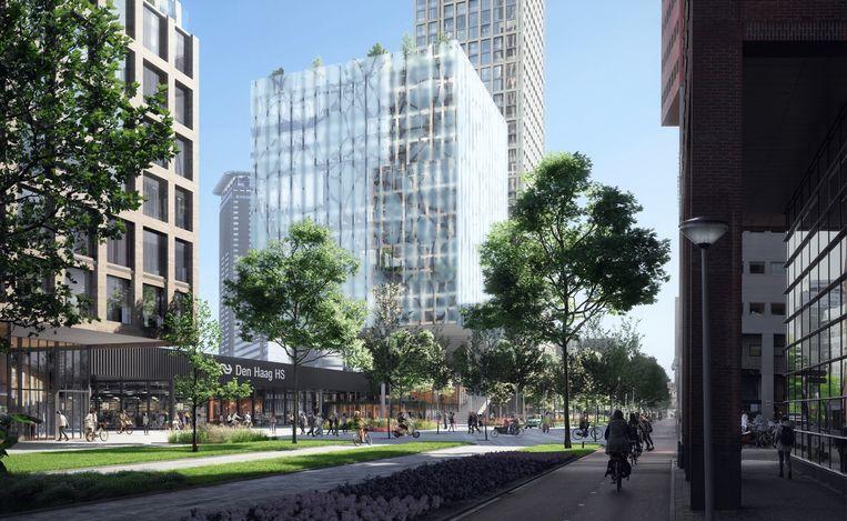Impressie van de 'achterzijde' van Den Haag Hollands Spoor met nieuwbouw en een nieuw stationsplein. Beeld Gemeente Den Haag