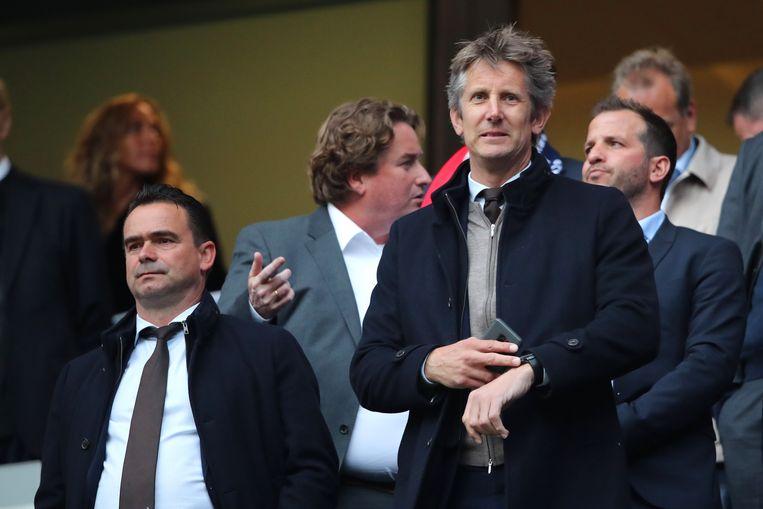 Marc Overmars en Edwin van der Sar. Beeld Getty Images