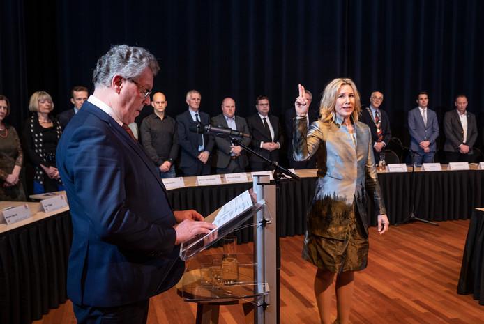 De gemeenteraad van Heerde, hier op de achtergrond bij de beëdiging van burgemeester Jacqueline Koops-Scheele, zou meer sturing kunnen gebruik bij de vele samenwerkingsverbanden.