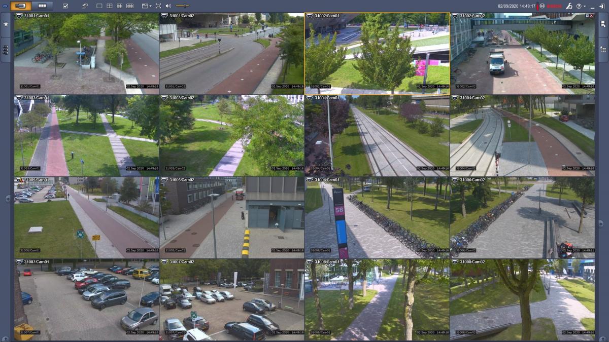 Screenshot van alle camerabeelden, die vanuit de meldkamer op de campus van de TU Delft te zien zijn.