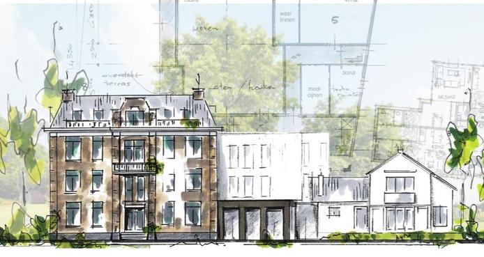 Een schetstekening van het nieuwe zorgcomplex in Vorden.