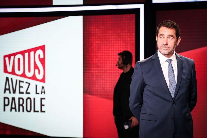 De Franse minister van Binnenlandse Zaken, Christophe Castaner, gisterenavond op de zender France 2.