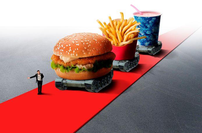 Gemeenten,burgemeesters geven fastfoodzaken vrij baan. Hamburger; friet; milkshake; Mac Donalds; Burger King; illustratie