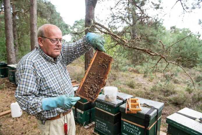 De Dalfser imker Hein Hendriks (79) heeft op landgoed Vilsteren 25 bijenkasten staan voor de productie van heidehoning. De kasten staan niet op de heide, maar vlakbij.