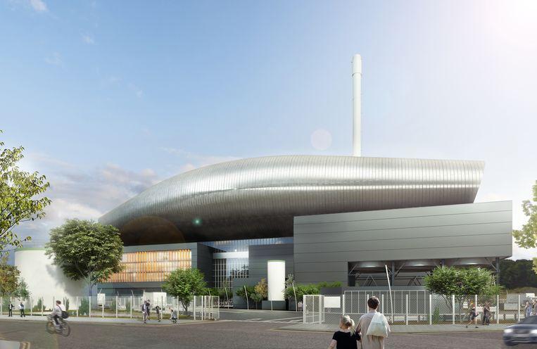 simulatie van de geplande afvalverwerkingscentrale die in Schotland wordt gebouwd