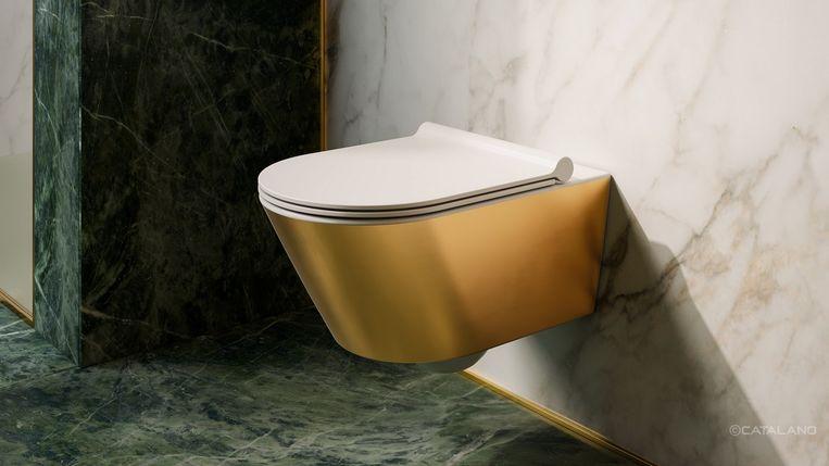 Een gouden wc tegels met visschubben dit zijn onze