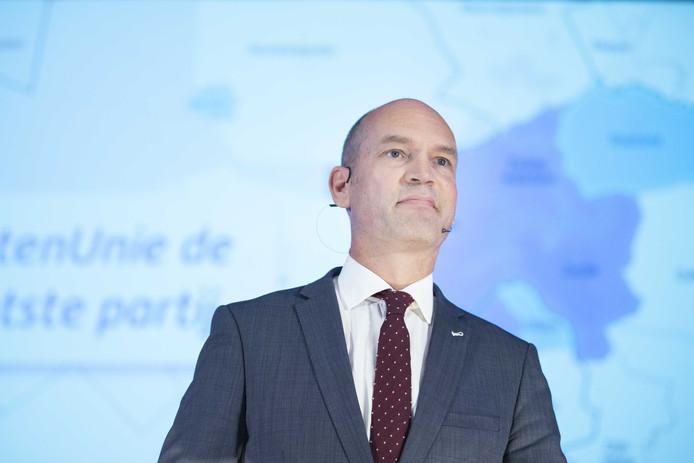 Partijleider en fractievoorzitter Gert-Jan Segers tijdens zijn toespraak op het partijcongres van de Christen-Unie.