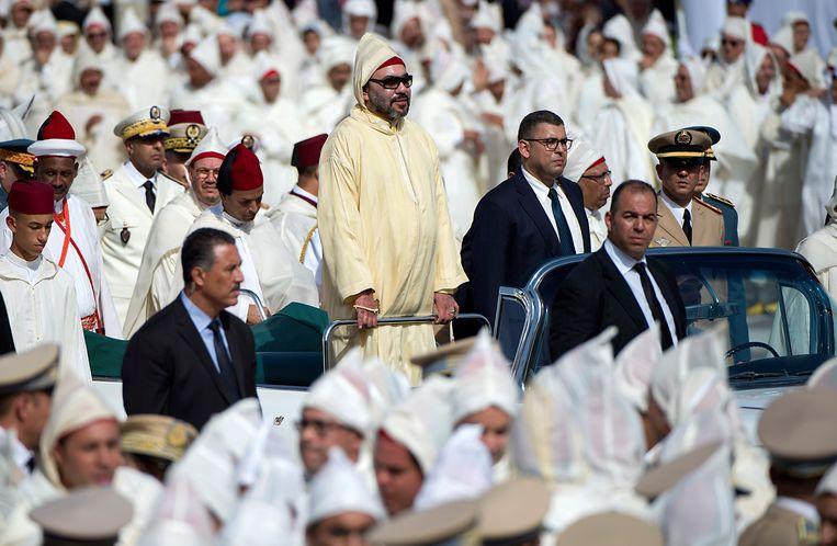 De Marokkaanse koning Mohammed VI in 2018 tijdens de viering van zijn 19de jubileum, in de stad Tétouan. Beeld AFP