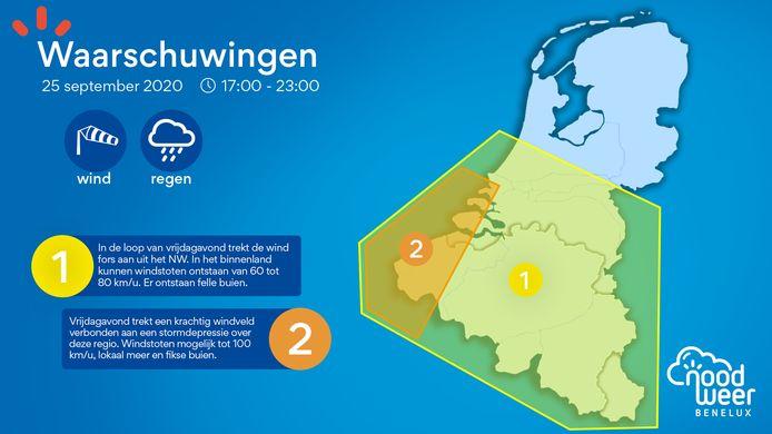 Waarschuwingskaart wind op 25 september 2020